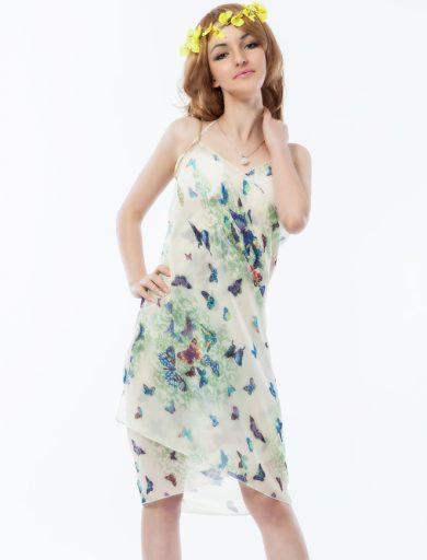 A Plážové zavinovací šaty béžové s motýli