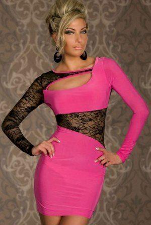 A Pouzdrové šaty růžové s krajkou MO5428