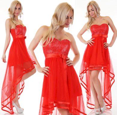 Červené šaty s vlečkou st115