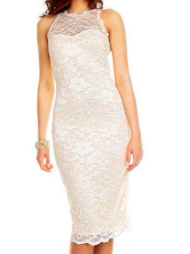 Luxusní šaty do společnosti s krajkou Mayaadi krémové