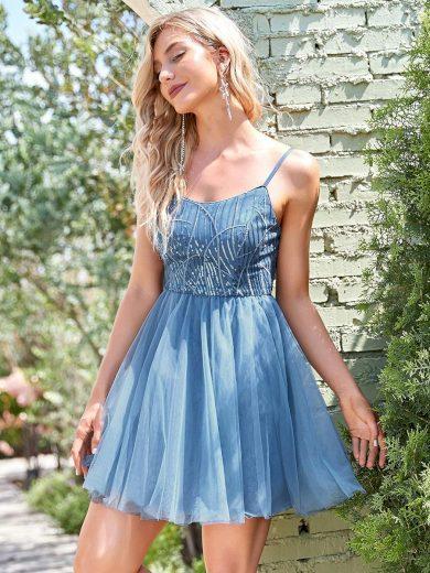Ever Pretty společenské krátké šaty modré  30235