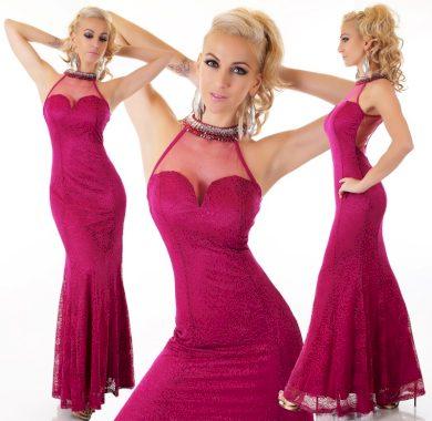 Krajkované šaty fuchsiová elegantní nevšední ST155