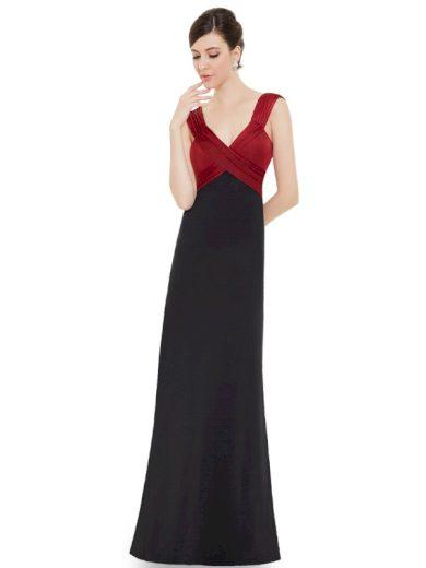 Ever Pretty plesové šaty černo - bordo splývavé 9051