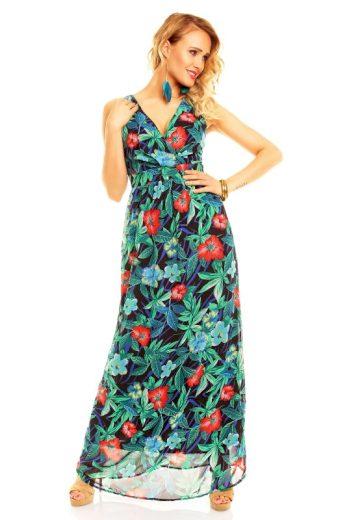 A Letní šaty zelené s květy HS106