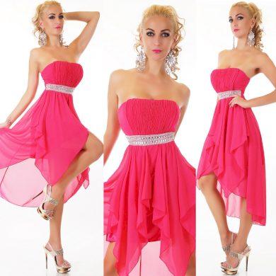 Plesové šaty růžové s kamínky ST153 + ramínka