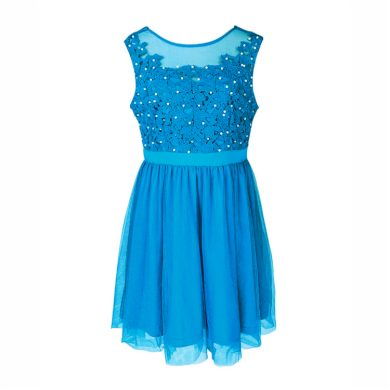 A Plesové šaty krátké s krajkou modré s perličkami 45-2