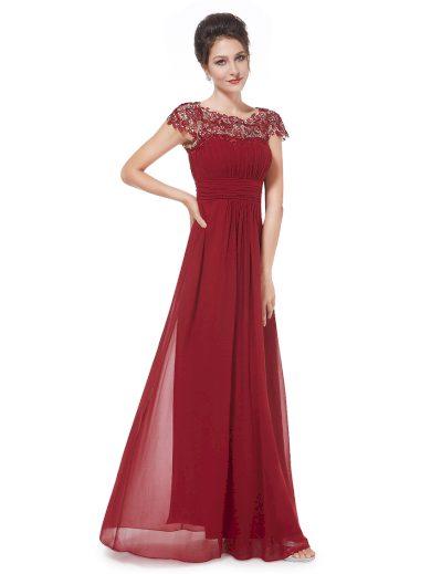 Ever Pretty plesové šaty s krajkou bordo 9993
