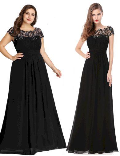 Ever Pretty plesové šaty s krajkou černé 9993