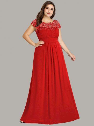 Ever Pretty plesové šaty s krajkou červené 9993