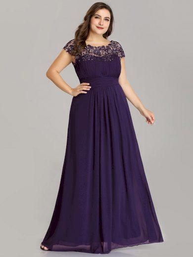Ever Pretty plesové šaty s krajkou fialové 9993