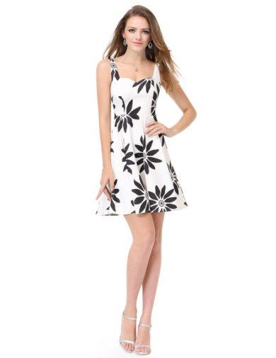 Ever Pretty luxusní letní šaty bílé s černými květy 5476