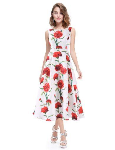 Ever Pretty luxusní letní šaty bílé s květy 5443
