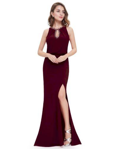 Ever Pretty plesové šaty bordo zdobené kamínky 8383