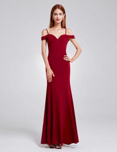 Ever Pretty šaty bordo dlouhé spadlá ramínka 7017