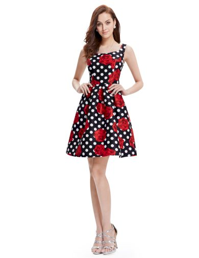 Ever Pretty luxusní letní šaty černé s květy 5381