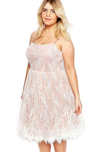 A Elegantní krátké krajkové šaty bílo růžové 0711