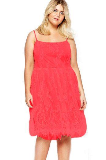A Elegantní krátké krajkové šaty červeno růžové 0711