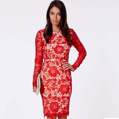 A Pouzdrové společenské šaty, červené krajkované 0085