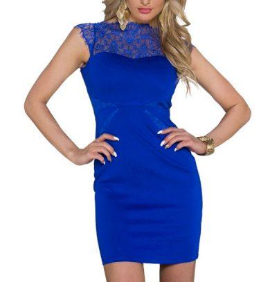 A Pouzdrové společenské šaty, modré s krajkou 0060