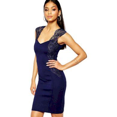 A Pouzdrové modré šaty s krajkou 2493