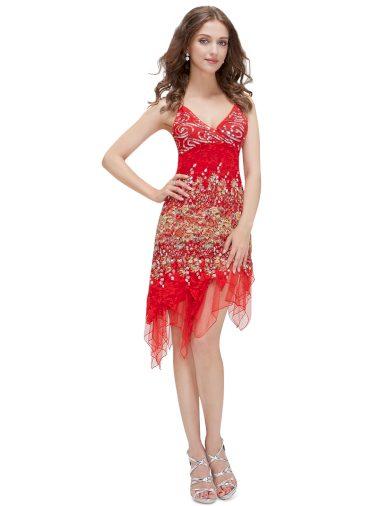 Ever Pretty šaty červené krajkové koktejlky 0045