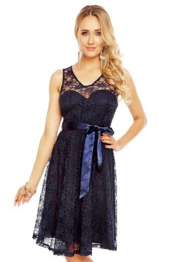 Plesové šaty krátké s krajkou modré hs 390