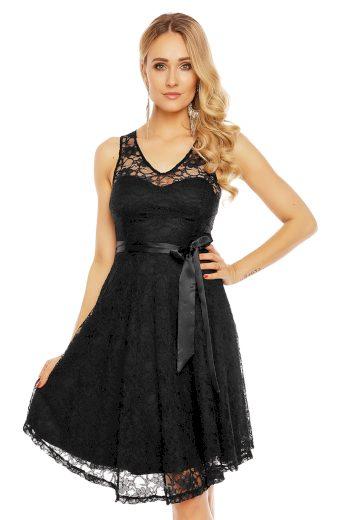 Plesové šaty krátké s krajkou černé hs 390