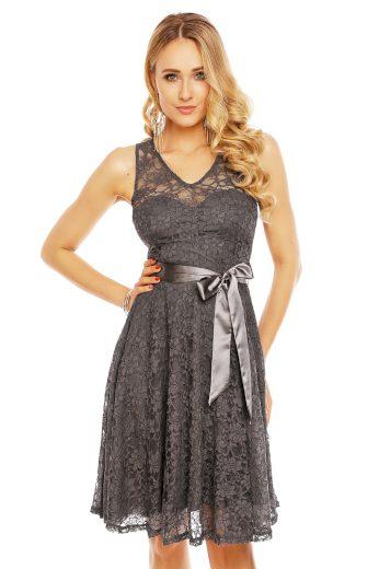 Plesové šaty krátké s krajkou šedé hs 390