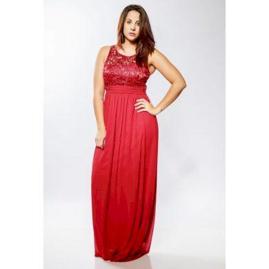 Společenské šaty červené s krajkou 1233