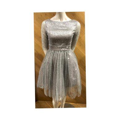 Nádherné společenské šaty třpytivé s rukávky 2243 Navy