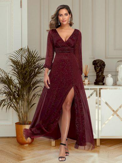 Ever Pretty luxusní tmavě bordo šaty 0739