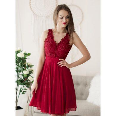 Společenské šaty červené s krajkou krátké 1340