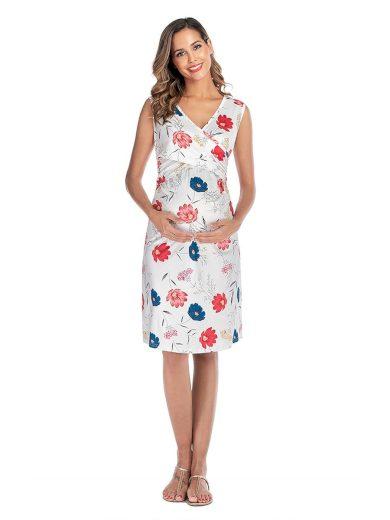 Ever Pretty těhotenské šaty bílé s květy 0004