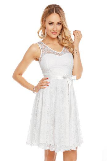 Plesové šaty krátké s krajkou bílé hs 390