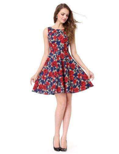 Ever Pretty letní šaty modré květované 5488