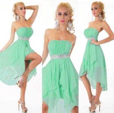 Plesové šaty jemně zelinkavé s kamínky ST150 + ramínka