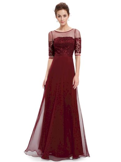 Elegantní Ever Pretty plesové šaty bordo 8459