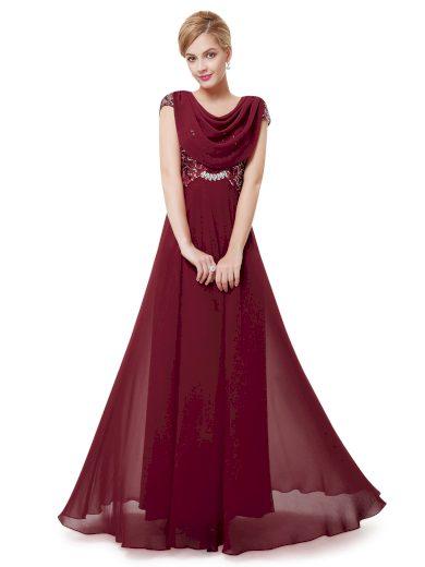 Dámské elegantní Ever Pretty plesové šaty bordo 9989