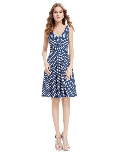 Ever Pretty letní šaty modré puntíkaté 5294