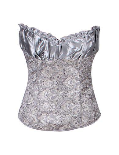 A Saténový dámský korzet stříbrný