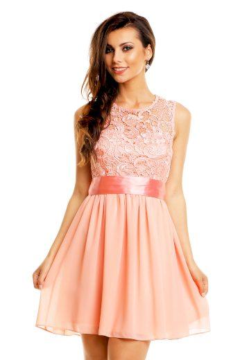 Plesové šaty krátké s krajkou jemně růžové HS367