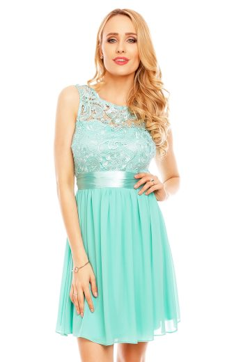 Plesové šaty krátké s krajkou tyrkysové hs 367