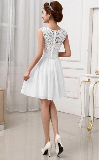 A Plesové šaty krátké s krajkou bílé