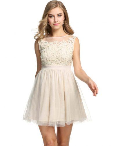 A Plesové šaty krátké s krajkou béžové s perličkami 45-3