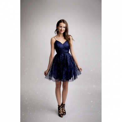 Eva&Lola šaty krátké černé s flitry 2183