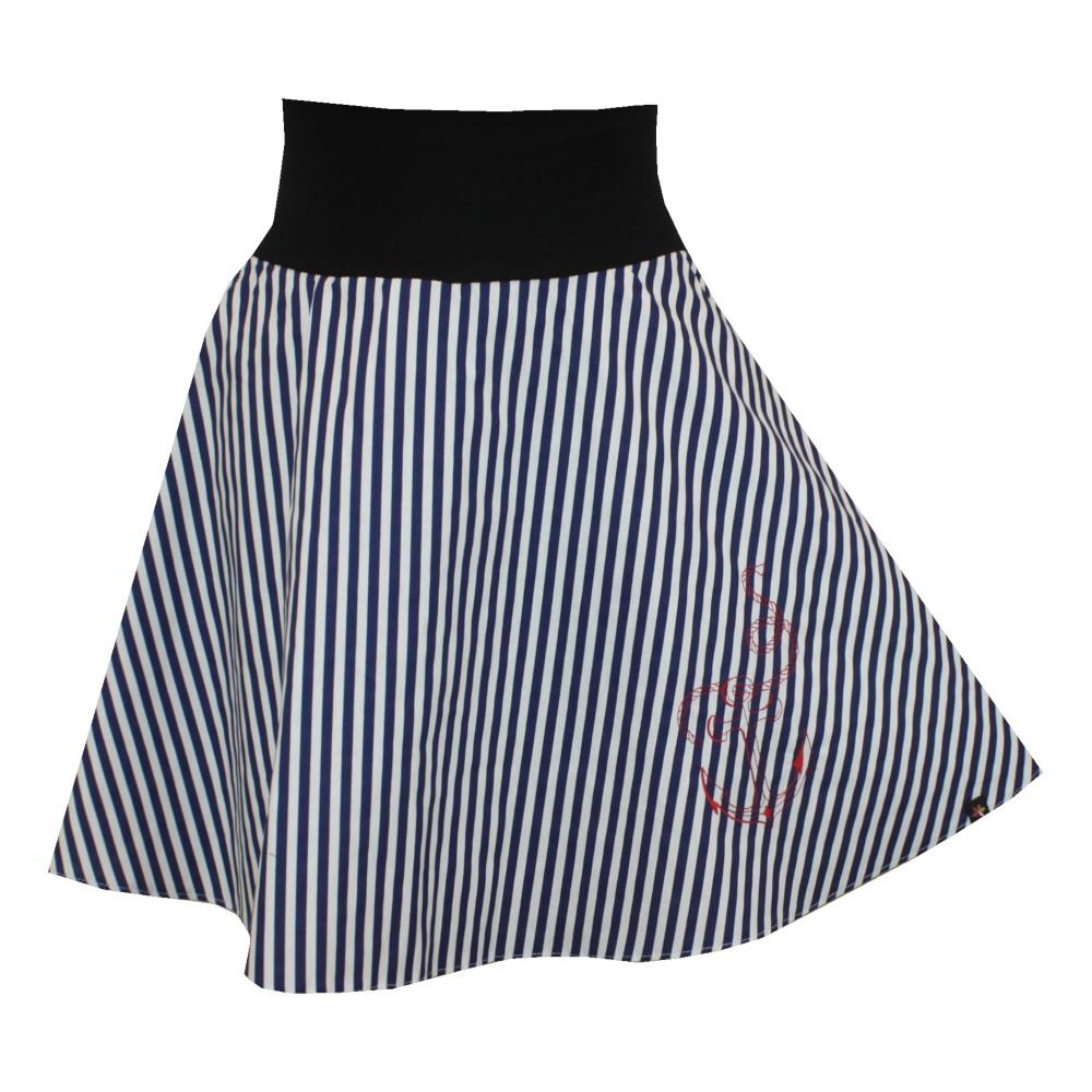Půlkolová letní sukně, modro bílé pruhy, kotva