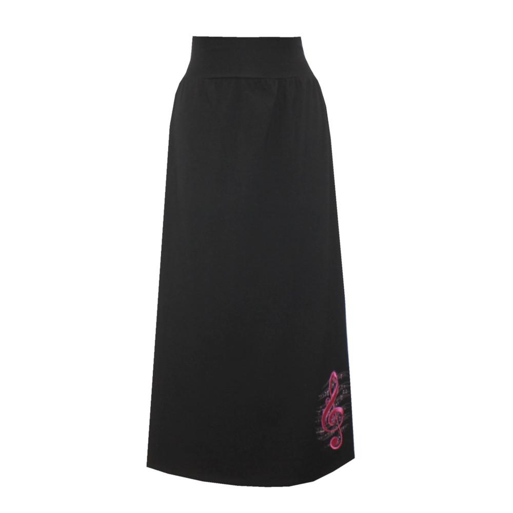 Černá letní bavlněná dlouhá sukně, hladká s rozparky, houslový klíč