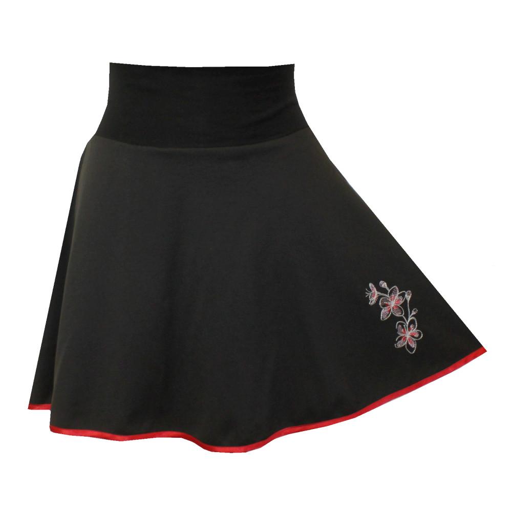 Černá půlkolová sukně s výšivkou, lem, květinky