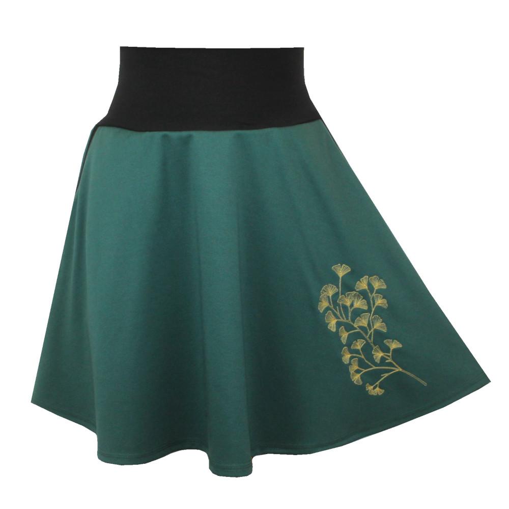 Zelená půlkolová sukně, kapsy, jinan