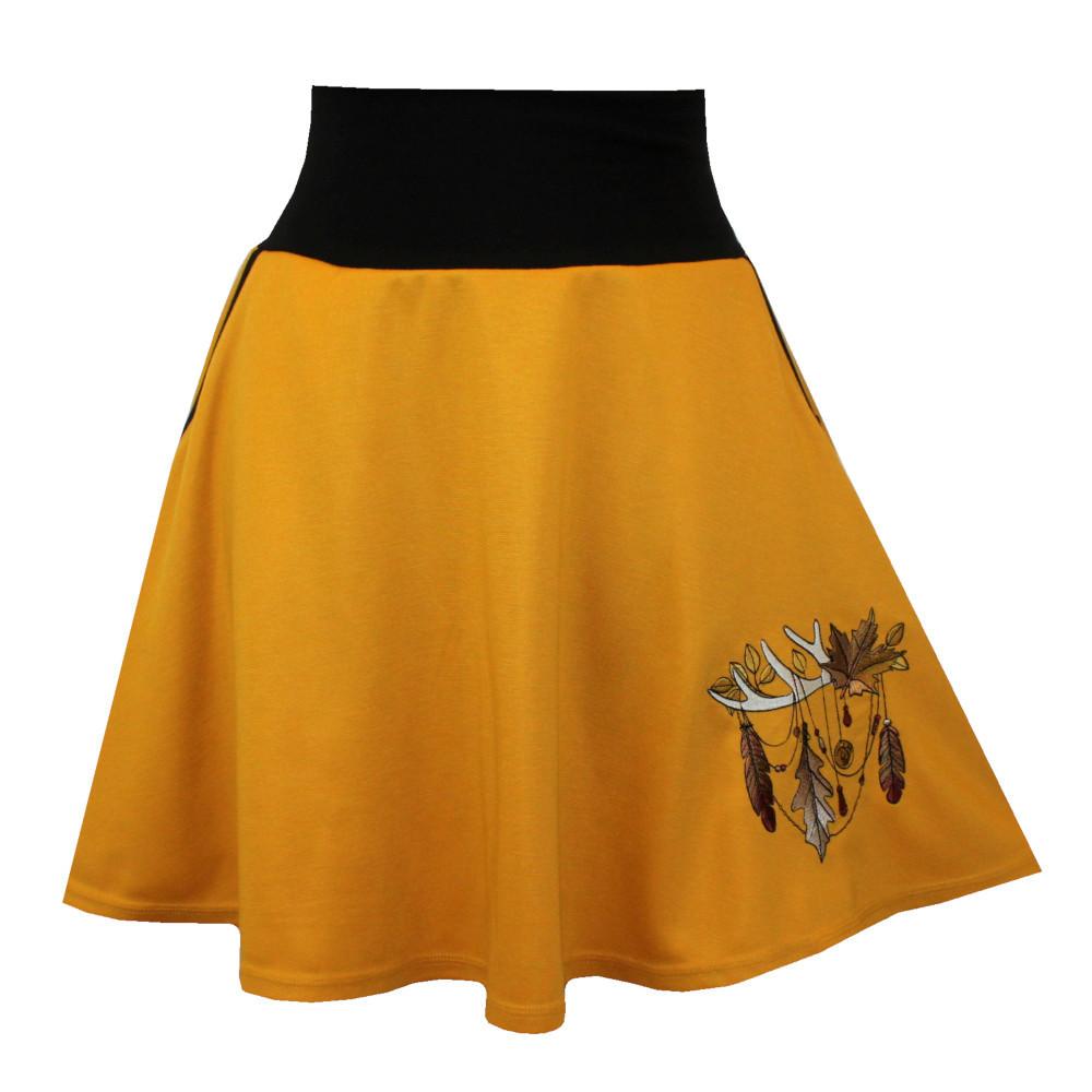Hořčicová půlkolová sukně, kapsy, podzimní lapač